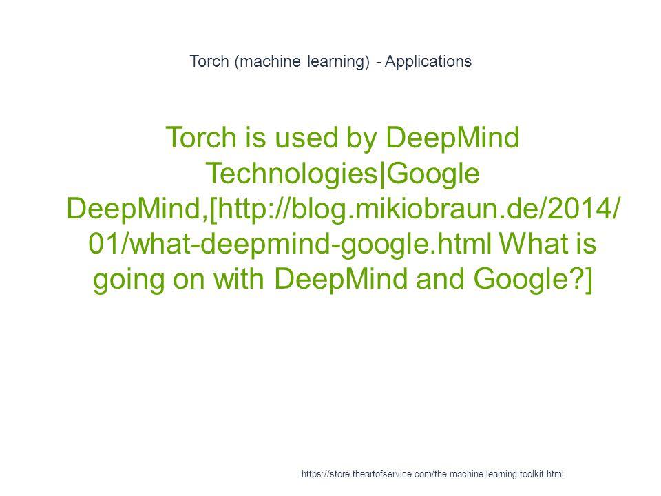 Torch (machine learning) - Applications 1 Torch is used by DeepMind Technologies|Google DeepMind,[http://blog.mikiobraun.de/2014/ 01/what-deepmind-goo