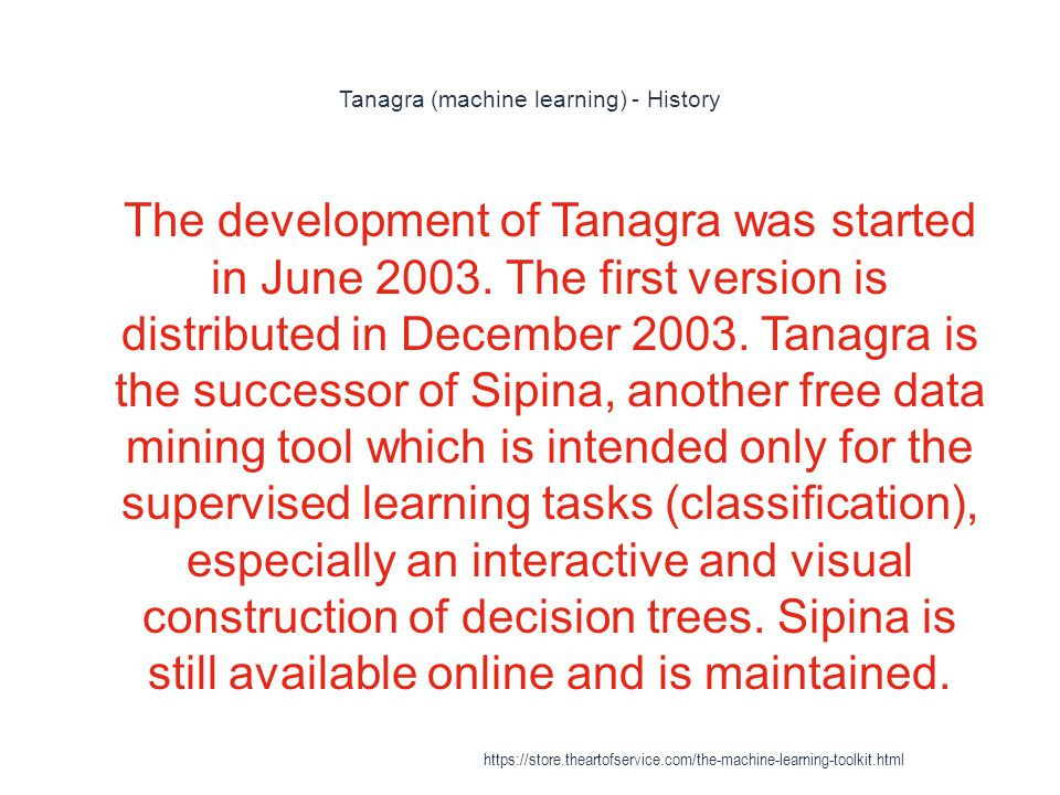 Tanagra (machine learning) - History 1 The development of Tanagra was started in June 2003. The first version is distributed in December 2003. Tanagra