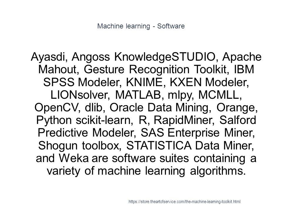 Machine learning - Software 1 Ayasdi, Angoss KnowledgeSTUDIO, Apache Mahout, Gesture Recognition Toolkit, IBM SPSS Modeler, KNIME, KXEN Modeler, LIONs