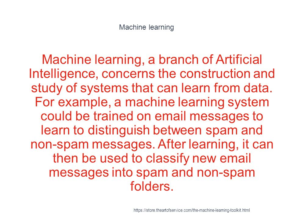 Transduction (machine learning) 1 An example of learning which is not inductive would be in the case of binary https://store.theartofservice.com/the-machine-learning-toolkit.html