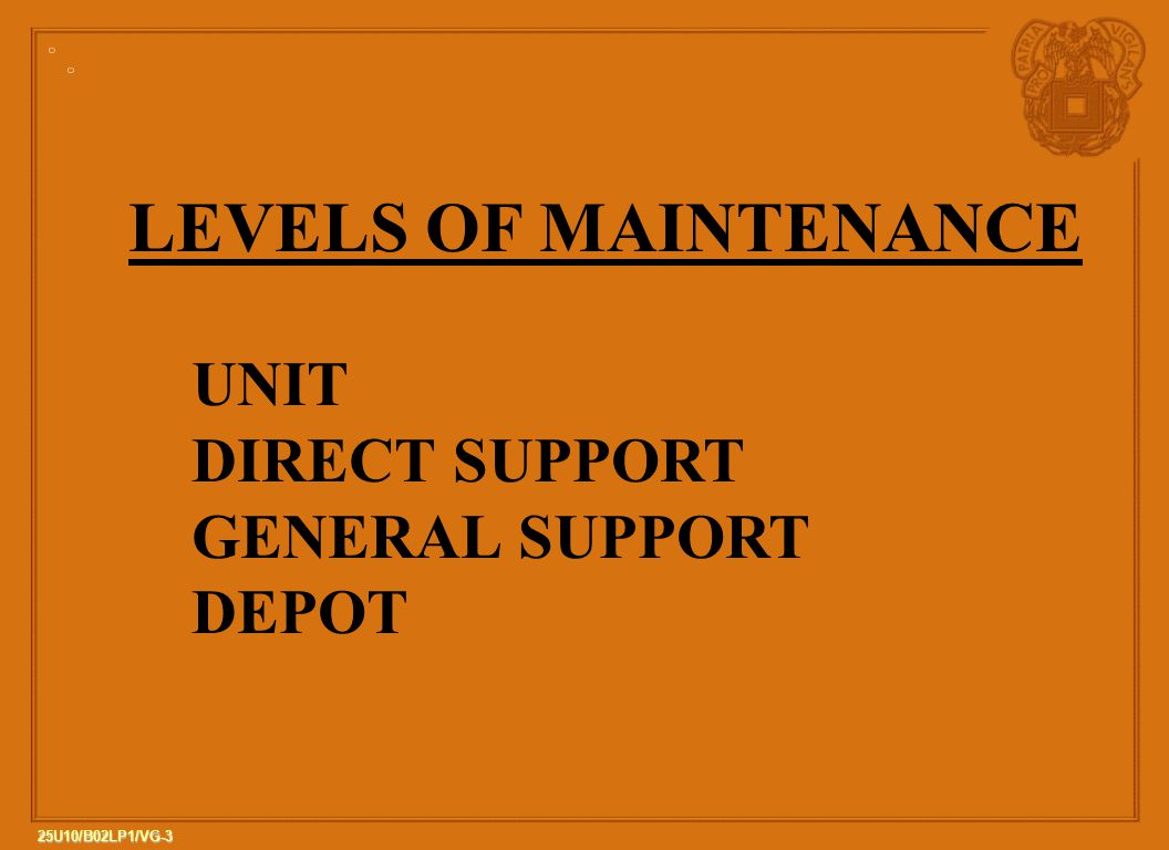 3 25U10/B02LP1/VG-3 LEVELS OF MAINTENANCE UNIT DIRECT SUPPORT GENERAL SUPPORT DEPOT