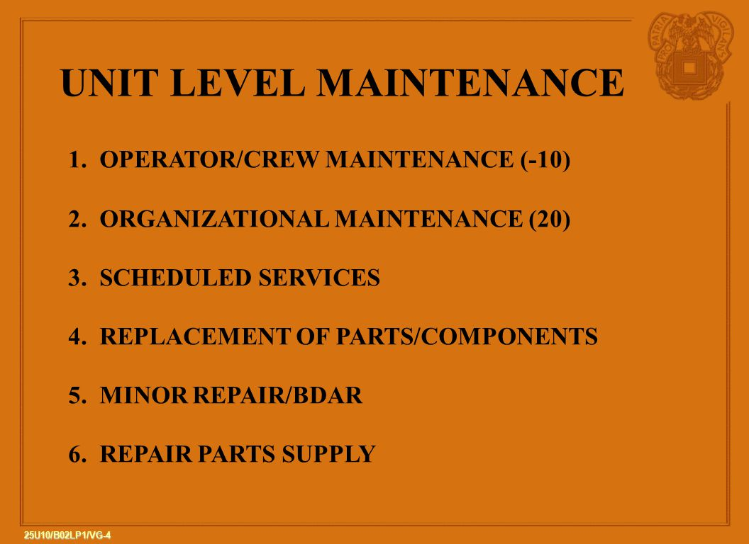 4 25U10/B02LP1/VG-4 UNIT LEVEL MAINTENANCE 1. OPERATOR/CREW MAINTENANCE (-10) 2. ORGANIZATIONAL MAINTENANCE (20) 3. SCHEDULED SERVICES 4. REPLACEMENT