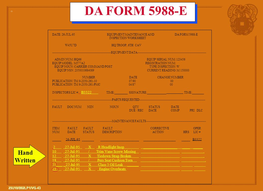 43 25U10/B02LP1/VG-43 DATE: 26-JUL-95 EQUIPMENT MAINTENANCE AND DA FORM 5988-E INSPECTION WORKSHEET W45U7D HQ TROOP, 6TH CAV -----------------------------------------------------------EQUIPMENT DATA--------------------------------------------------------------------- ADMIN NUM: HQ66 EQUIP SERIAL NUM: 123456 EQUIP MODEL: M577A2 REGISTRATION NUM: EQUIP NOUN: CARRIER COMMAND POST TYPE INSPECTION: W EQUIP NSN: 2350010684089 CURRENT READING: M 150000 NUMBER DATE CHANGE NUMBER PUBLICATION: TM 9-2350-261-10 07/90 00 PUBLICATION: TM 9-2350-261-PMC 04/87 00 INSPECTORS LIC #: B3322 TIME:_________SIGNATURE:_____________ TIME:________ ------------------------------------------------------------PARTS REQUESTED------------------------------------------------------------------ FAULT DOC NUM NIIN NOUN QTY STATUS DATE DUE / REC DATE COMP PRI DLC ------------------------------------------------------------MAINTENANCE FAULTS------------------------------------------------------------ ITEM FAULT FAULT FAULT CORRECTIVE OPER NUM DATE STATUS DESCRIPTION ACTION HRS LIC # ______ 26-JUL-95 _______ _______________________ ___________________ _____ B3322 2 27-Jul-95 X R Headlight Inop __________________ ____ _____ 10 27-Jul-95 / Trim Vane Screw Missing.
