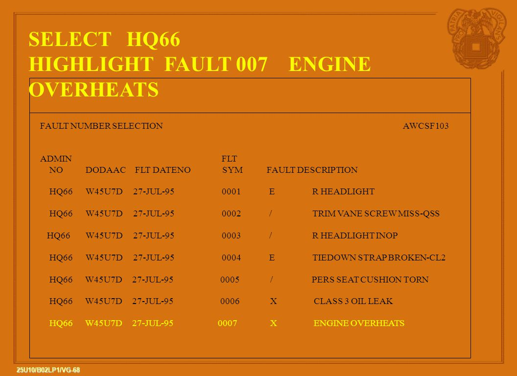 68 25U10/B02LP1/VG-68 FAULT NUMBER SELECTIONAWCSF103 ADMIN FLT NODODAAC FLT DATENO SYMFAULT DESCRIPTION HQ66W45U7D 27-JUL-950001 ER HEADLIGHT HQ66W45U7D 27-JUL-950002 /TRIM VANE SCREW MISS-QSS HQ66W45U7D 27-JUL-950003 /R HEADLIGHT INOP HQ66W45U7D 27-JUL-950004 ETIEDOWN STRAP BROKEN-CL2 HQ66 W45U7D 27-JUL-95 0005 / PERS SEAT CUSHION TORN HQ66 W45U7D 27-JUL-95 0006 X CLASS 3 OIL LEAK HQ66 W45U7D 27-JUL-95 0007 X ENGINE OVERHEATS SELECT HQ66 HIGHLIGHT FAULT 007 ENGINE OVERHEATS