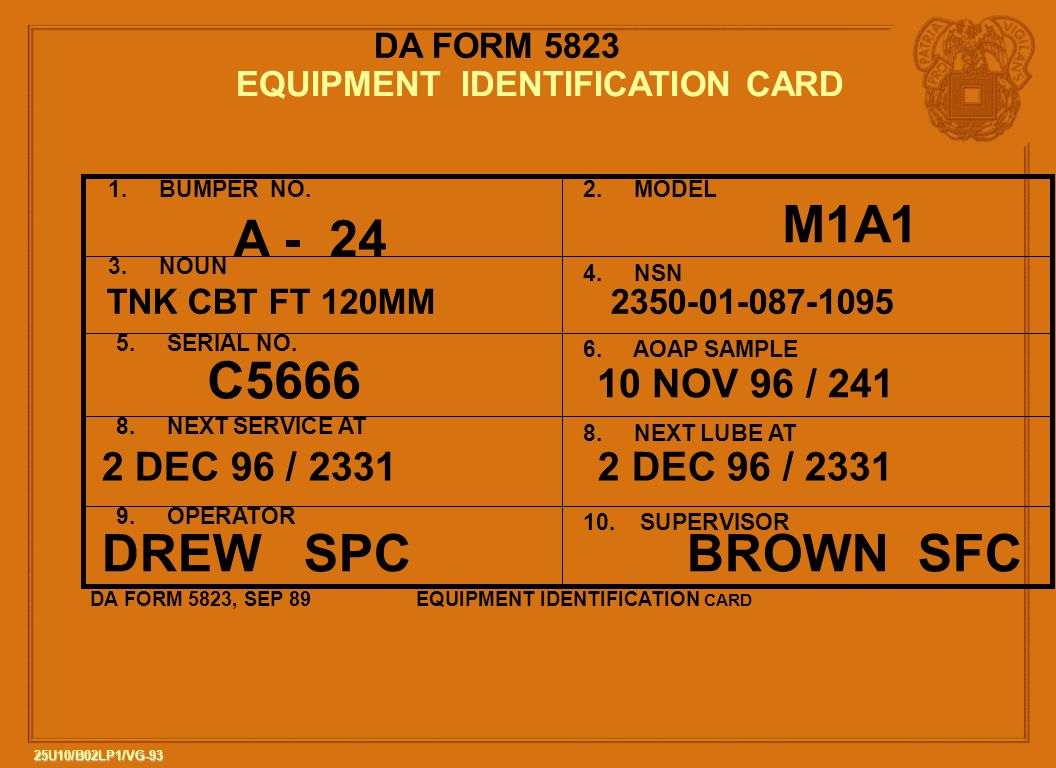 93 25U10/B02LP1/VG-93 DA FORM 5823 EQUIPMENT IDENTIFICATION CARD 1.