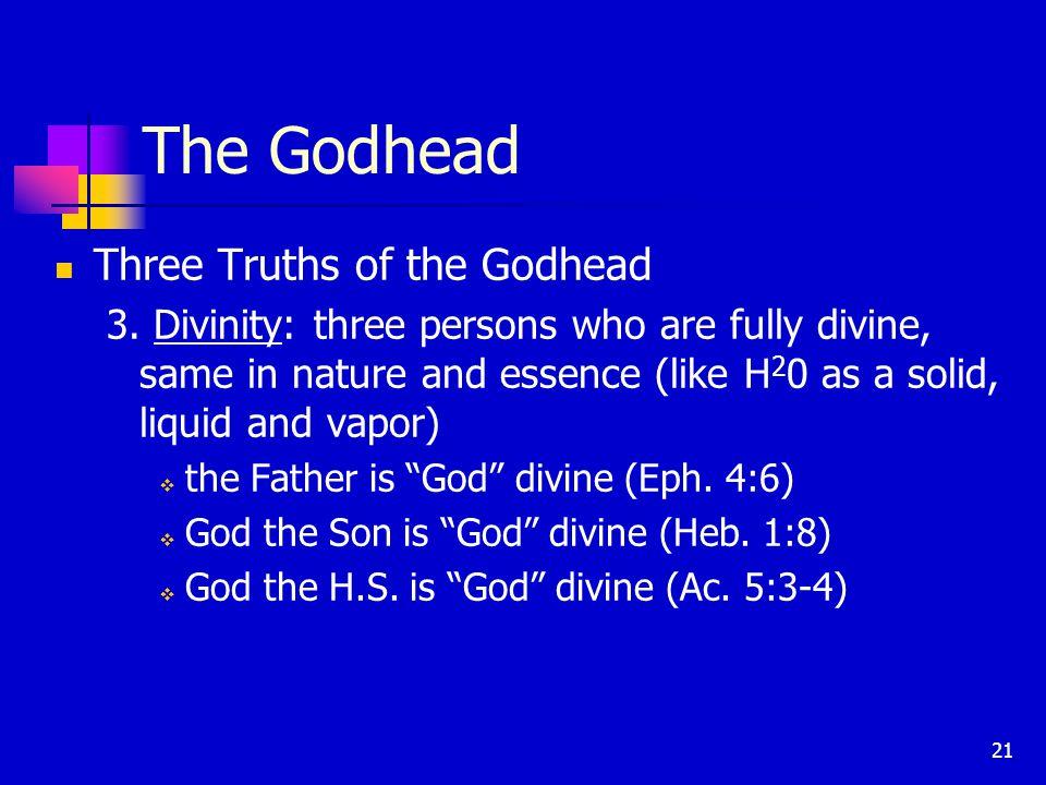 21 The Godhead Three Truths of the Godhead 3.