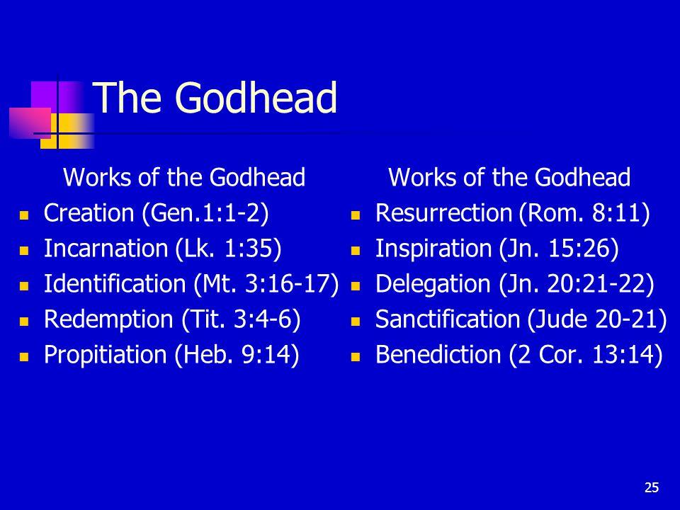 25 The Godhead Works of the Godhead Creation (Gen.1:1-2) Incarnation (Lk.