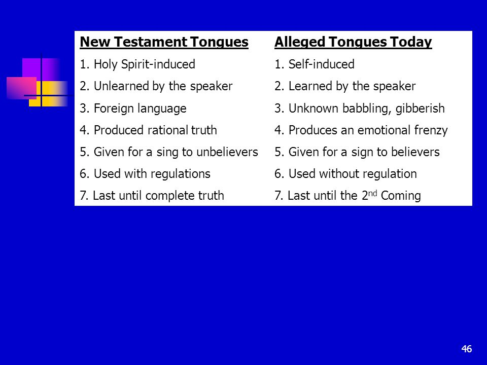 46 New Testament TonguesAlleged Tongues Today 1. Holy Spirit-induced1.
