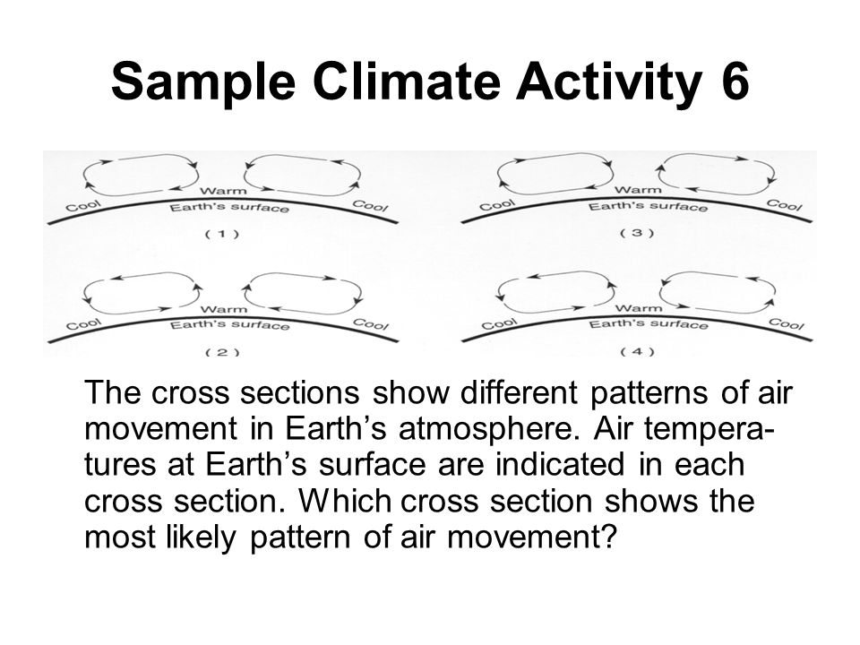 Sample Climate Activity 6 The cross sections show different patterns of air movement in Earth's atmosphere. Air tempera- tures at Earth's surface are