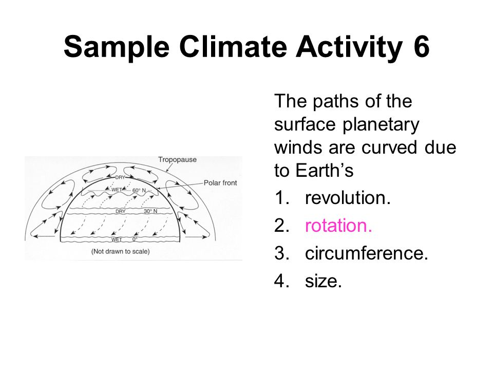 Sample Climate Activity 6 The paths of the surface planetary winds are curved due to Earth's 1.revolution. 2.rotation. 3.circumference. 4.size.