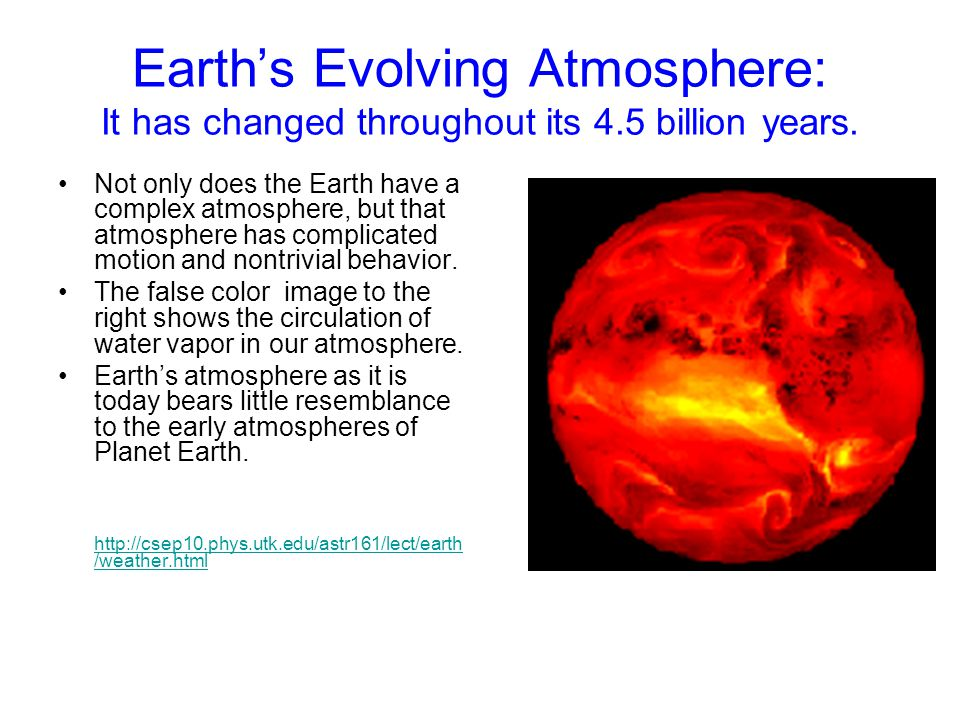 Earth's Evolving Atmosphere: It has changed throughout its 4.5 billion years. Not only does the Earth have a complex atmosphere, but that atmosphere h