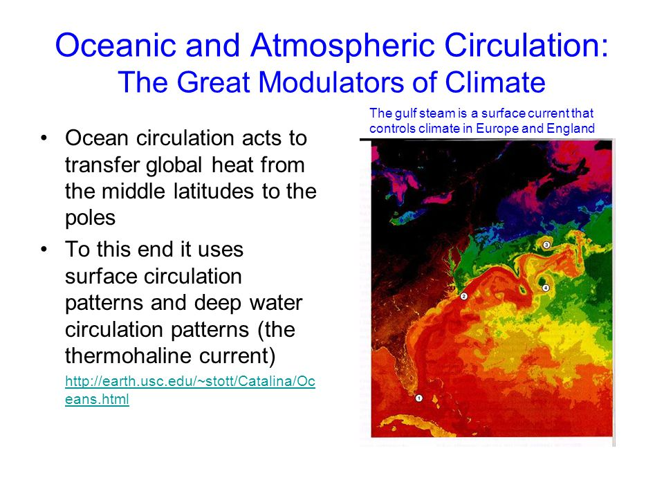 Oceanic and Atmospheric Circulation: The Great Modulators of Climate Ocean circulation acts to transfer global heat from the middle latitudes to the p