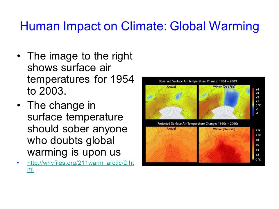 Human Impact on Climate: Global Warming The image to the right shows surface air temperatures for 1954 to 2003. The change in surface temperature shou