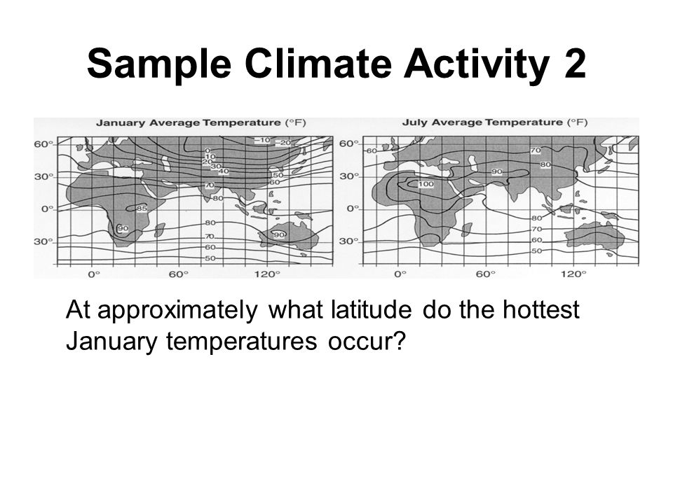 Sample Climate Activity 2 At approximately what latitude do the hottest January temperatures occur?