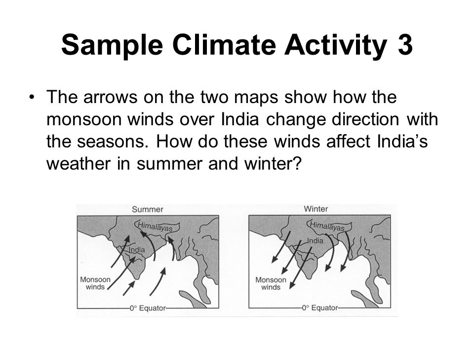 Sample Climate Activity 3 The arrows on the two maps show how the monsoon winds over India change direction with the seasons. How do these winds affec