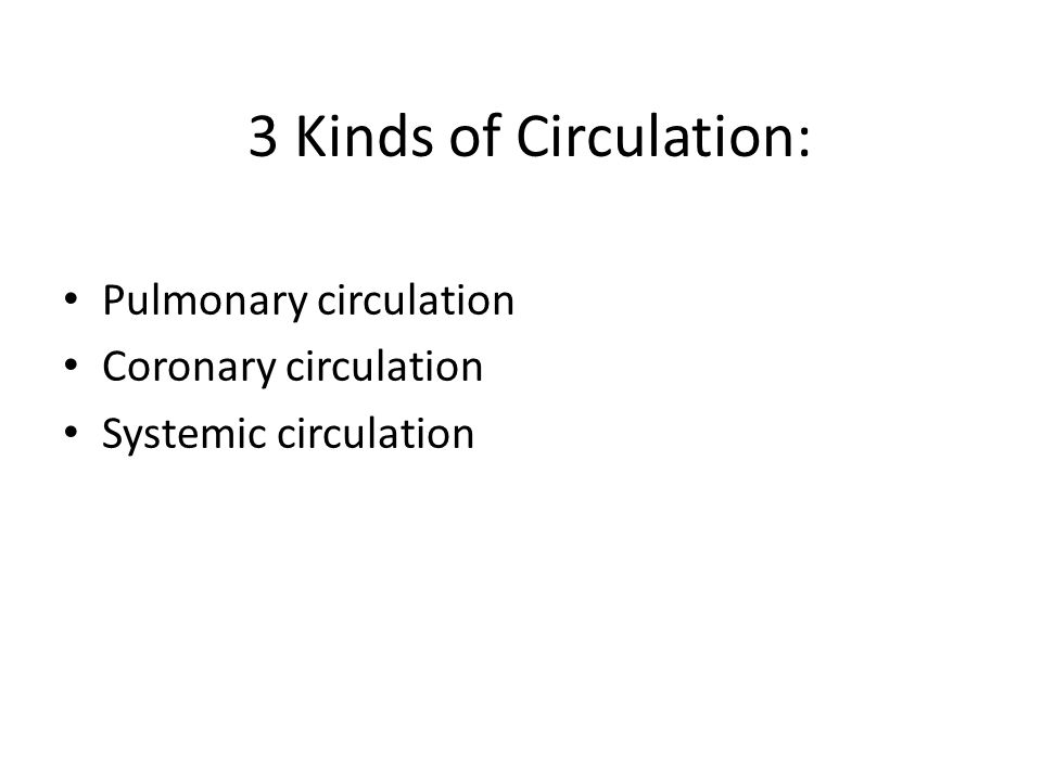 3 Kinds of Circulation: Pulmonary circulation Coronary circulation Systemic circulation