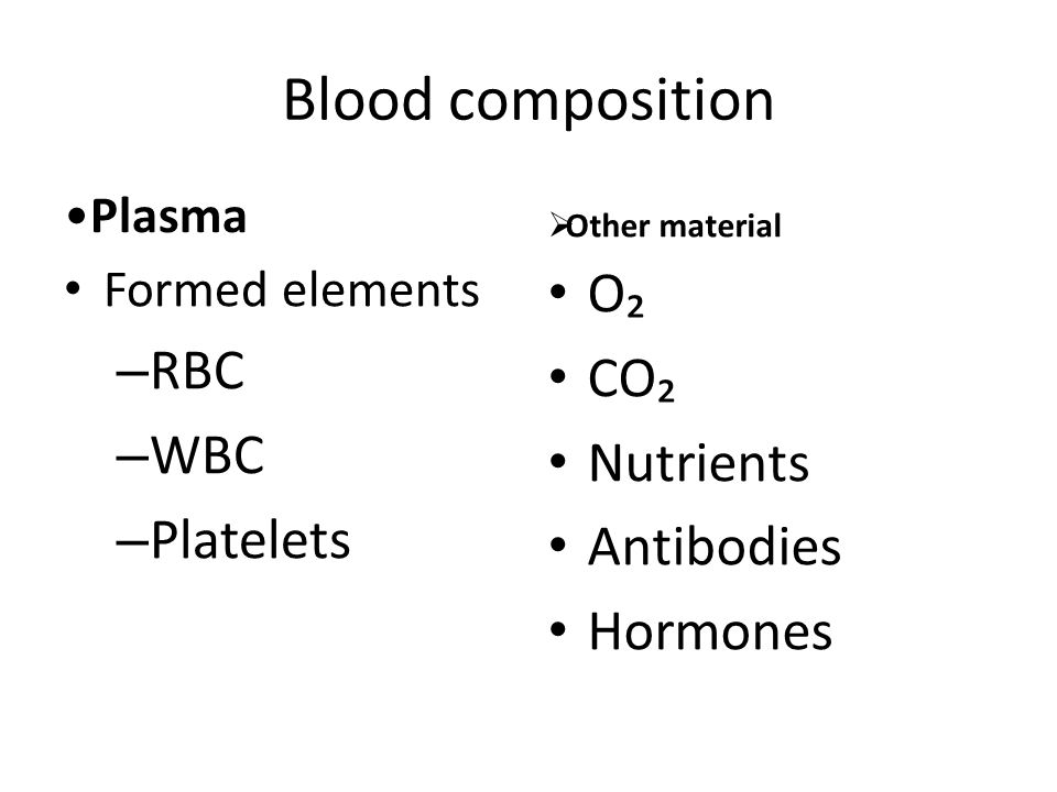 Blood composition Plasma Formed elements – RBC – WBC – Platelets  Other material O₂ CO₂ Nutrients Antibodies Hormones