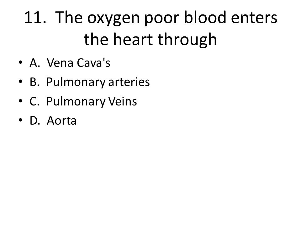 11. The oxygen poor blood enters the heart through A. Vena Cava's B. Pulmonary arteries C. Pulmonary Veins D. Aorta