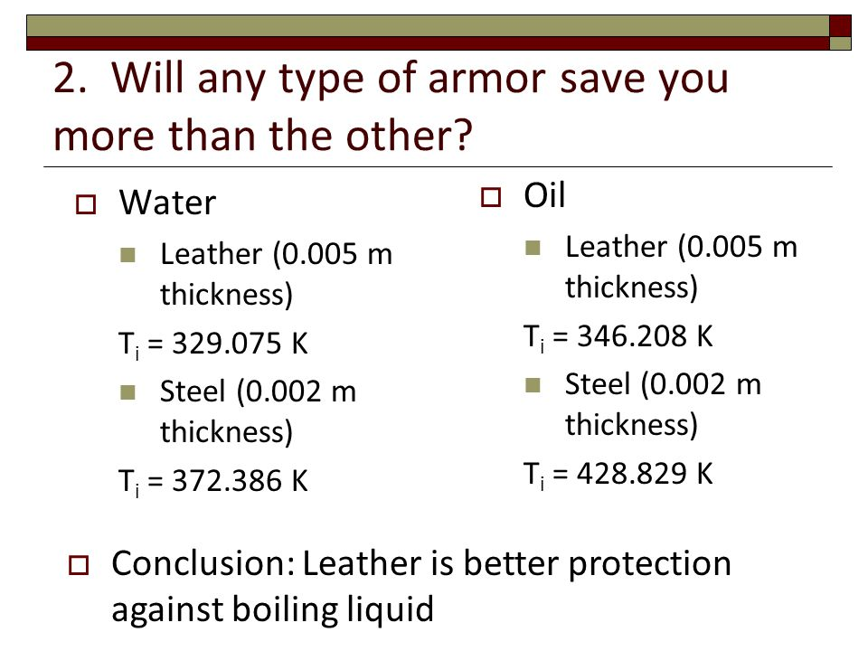 2. Will any type of armor save you more than the other.