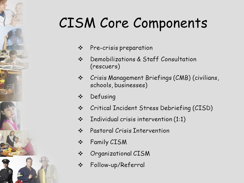"""Debriefing Used within the context of CISM, the term """"debriefing"""" refers to a 7 – phase structured small group crisis intervention more specifically n"""