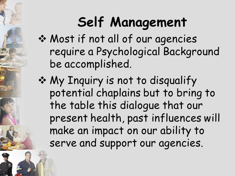 Self Management  What is the foundation of the Care Givers Health – History, Stress Levels – Illustrate that a marriage is impacted by the history/pa