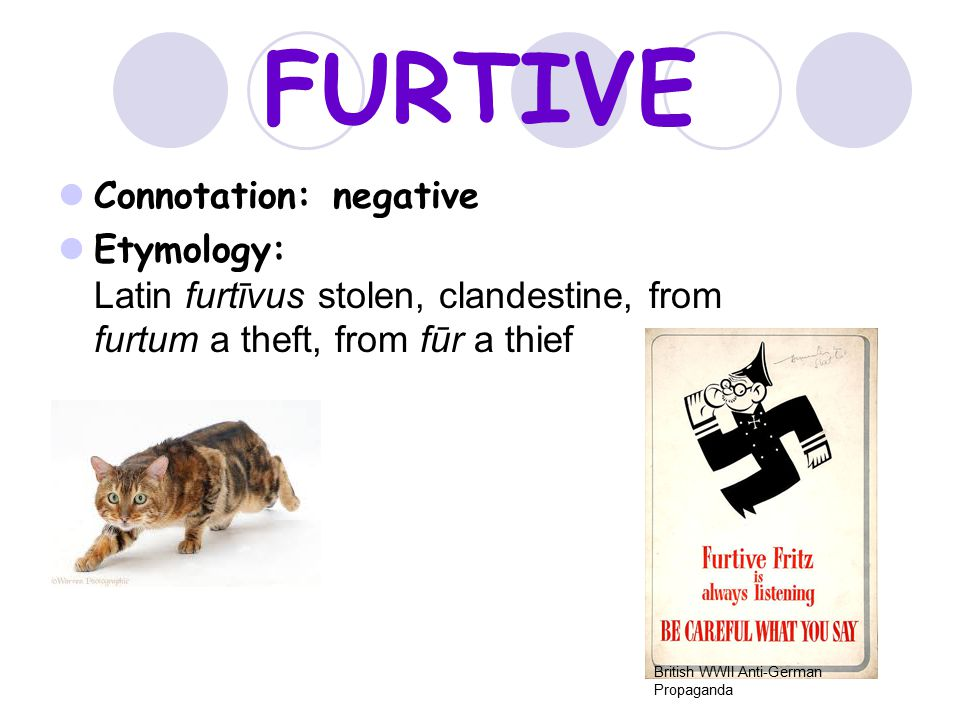 FURTIVE Connotation: negative Etymology: Latin furtīvus stolen, clandestine, from furtum a theft, from fūr a thief British WWII Anti-German Propaganda