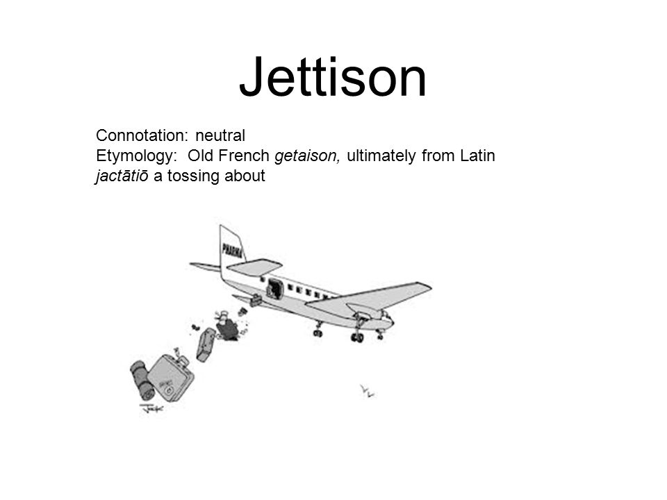Jettison Connotation: neutral Etymology: Old French getaison, ultimately from Latin jactātiō a tossing about