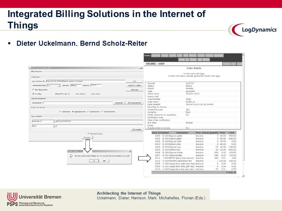 Architecting the Internet of Things Uckelmann, Dieter; Harrison, Mark; Michahelles, Florian (Eds.) Business Models for the Internet of Things  Eva Bucherer, Dieter Uckelmann