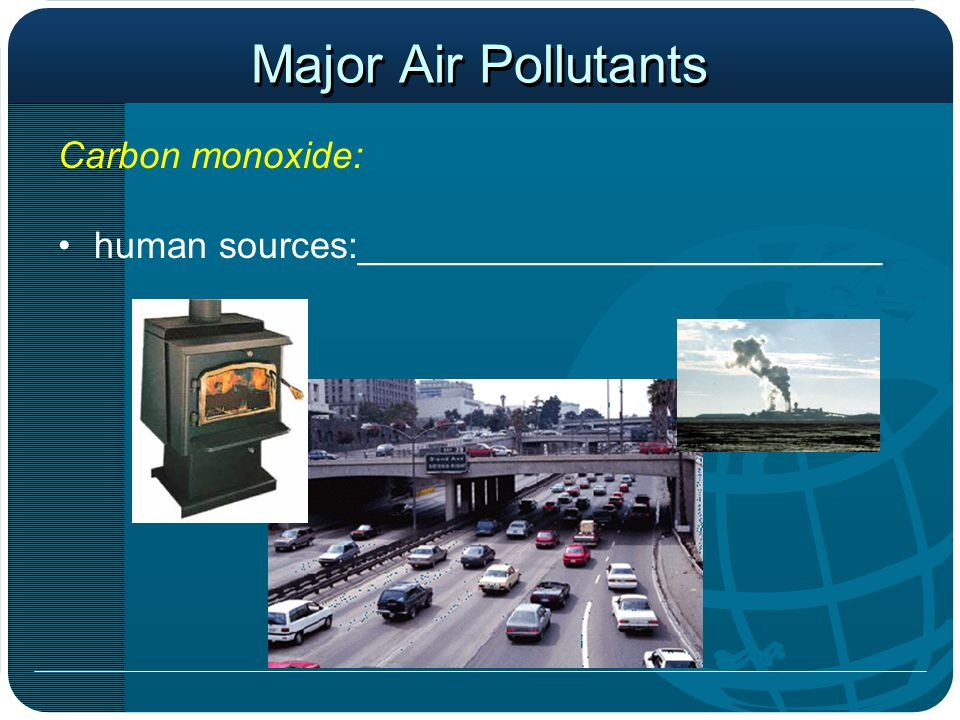 Major Air Pollutants Carbon monoxide: human sources:_________________________