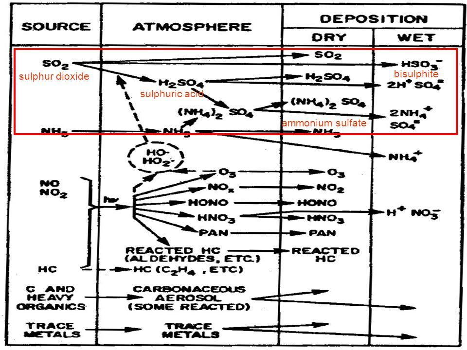 bisulphite ammonium sulfate sulphuric acid sulphur dioxide