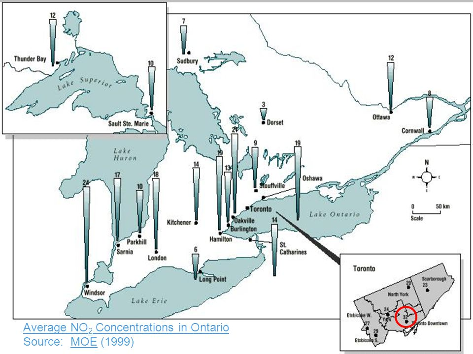 http://www.utoronto.ca/imap/collections/air_quality/maps/Ontario-avg-NO2.jpg Average NO 2 Concentrations in Ontario Average NO 2 Concentrations in Ontario Source: MOE (1999)MOE