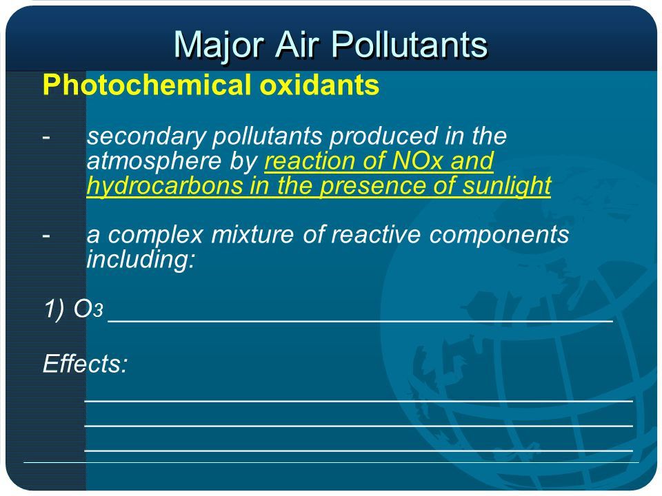 Major Air Pollutants Photochemical oxidants -secondary pollutants produced in the atmosphere by reaction of NOx and hydrocarbons in the presence of sunlight -a complex mixture of reactive components including: 1) O 3 ___________________________________ Effects: ______________________________________ ______________________________________ ______________________________________