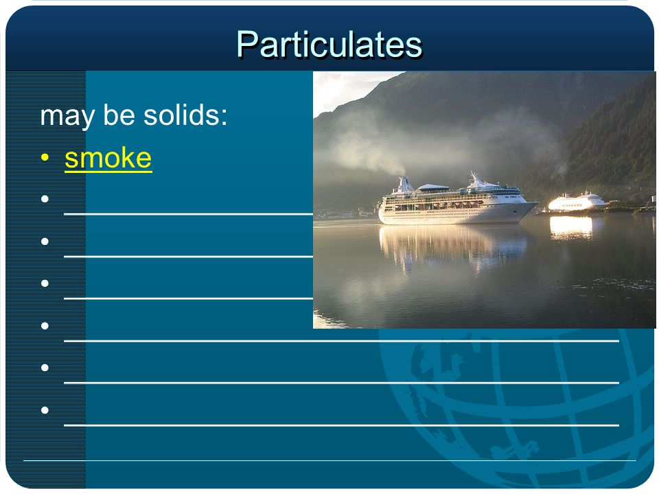Particulates may be solids: smoke __________________________________