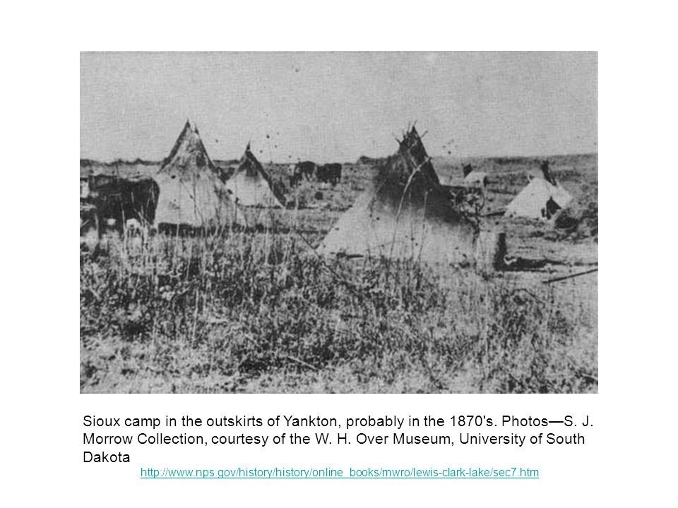 Sioux camp in the outskirts of Yankton, probably in the 1870 s.