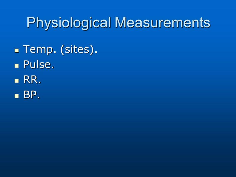 Physiological Measurements Temp. (sites). Temp. (sites). Pulse. Pulse. RR. RR. BP. BP.