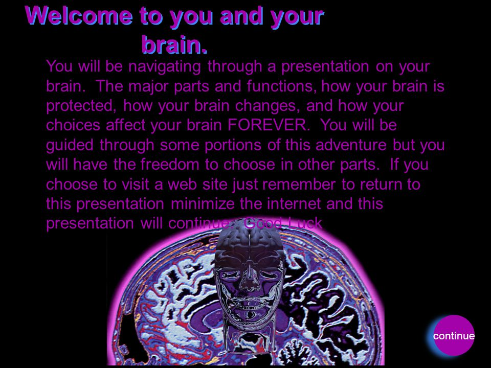 Welcome to you and your brain. You will be navigating through a presentation on your brain. The major parts and functions, how your brain is protected