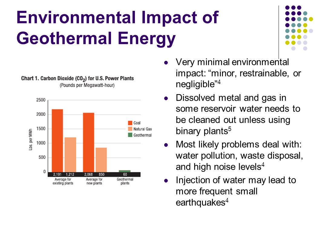 """Environmental Impact of Geothermal Energy Very minimal environmental impact: """"minor, restrainable, or negligible"""" 4 Dissolved metal and gas in some re"""
