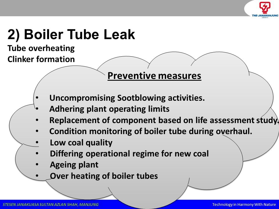 2) Boiler Tube Leak Tube overheating Clinker formation Preventive measures Uncompromising Sootblowing activities. Adhering plant operating limits Repl