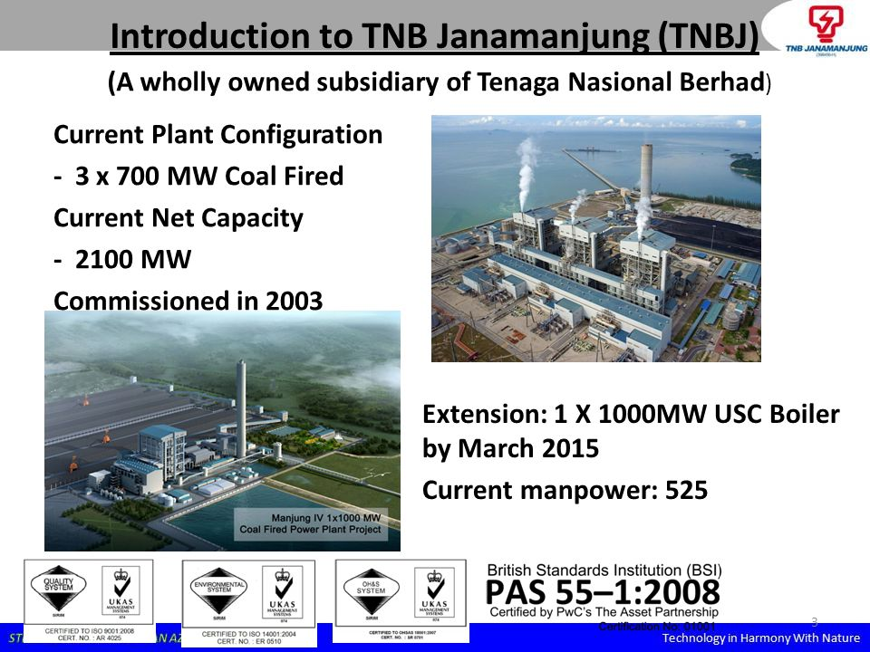 3 Introduction to TNB Janamanjung (TNBJ) Current Plant Configuration - 3 x 700 MW Coal Fired Current Net Capacity - 2100 MW Commissioned in 2003 Exten