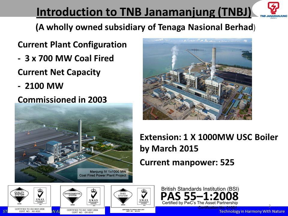TNBJ's location in Peninsular Malaysia TNBJ