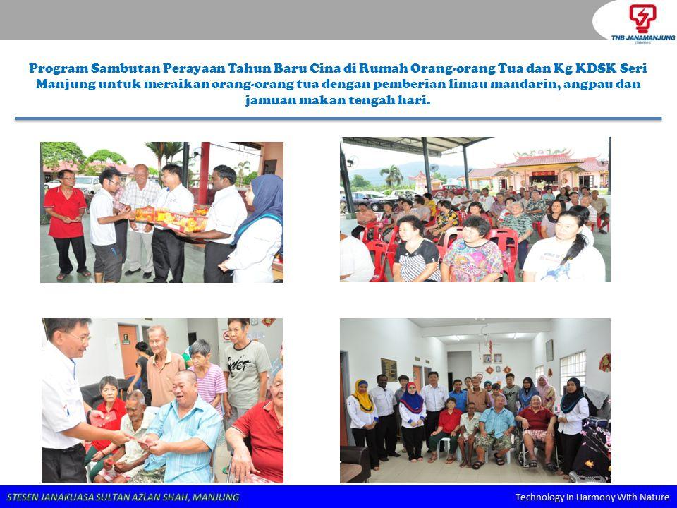 Program Sambutan Perayaan Tahun Baru Cina di Rumah Orang-orang Tua dan Kg KDSK Seri Manjung untuk meraikan orang-orang tua dengan pemberian limau mand