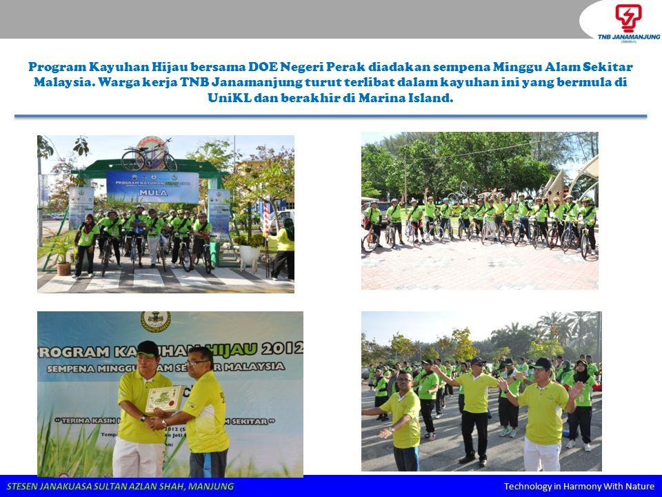 Program Kayuhan Hijau bersama DOE Negeri Perak diadakan sempena Minggu Alam Sekitar Malaysia. Warga kerja TNB Janamanjung turut terlibat dalam kayuhan