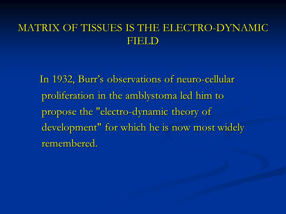 MATRIX OF TISSUES IS THE ELECTRO-DYNAMIC FIELD In 1932, Burr's observations of neuro-cellular In 1932, Burr's observations of neuro-cellular proliferation in the amblystoma led him to proliferation in the amblystoma led him to propose the electro-dynamic theory of propose the electro-dynamic theory of development for which he is now most widely development for which he is now most widely remembered.