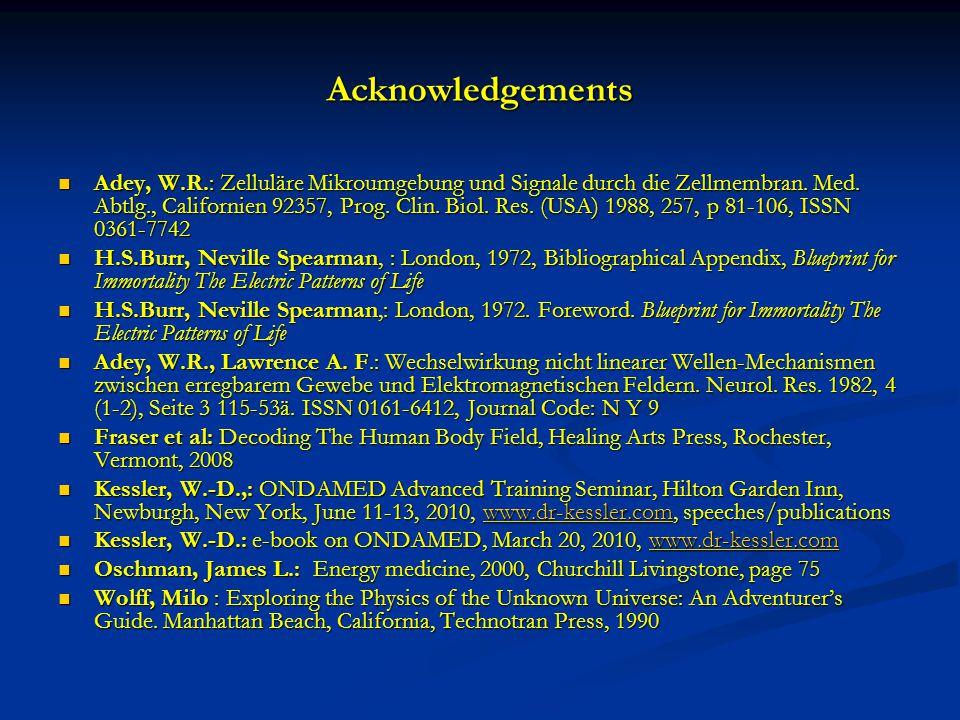 Acknowledgements Adey, W.R.: Zelluläre Mikroumgebung und Signale durch die Zellmembran.