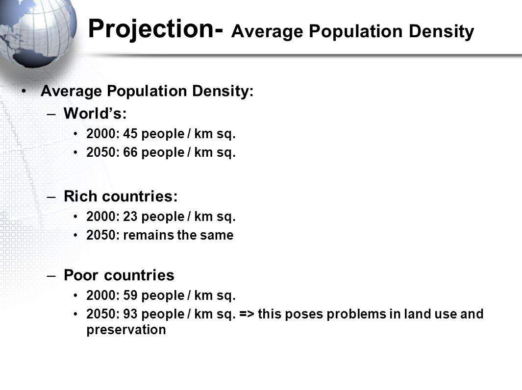 Projection- Average Population Density Average Population Density: –World's: 2000: 45 people / km sq.