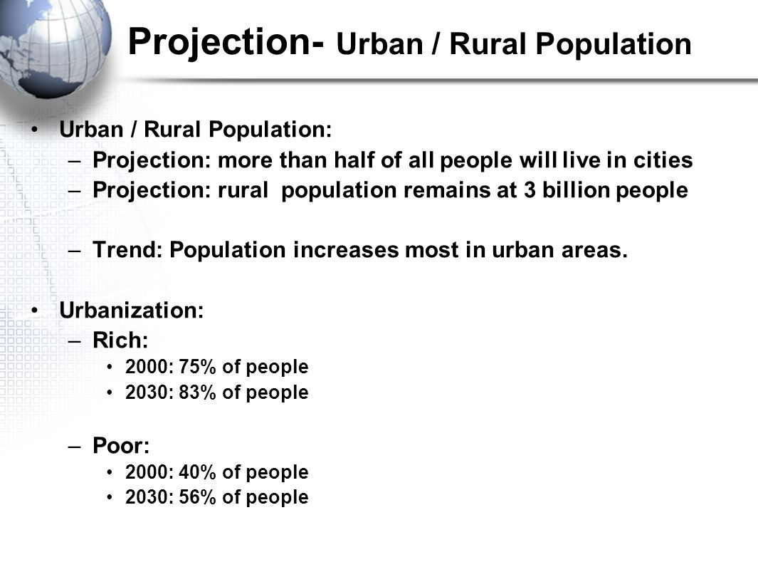 Projection- Urban / Rural Population Urban / Rural Population: –Projection: more than half of all people will live in cities –Projection: rural population remains at 3 billion people –Trend: Population increases most in urban areas.