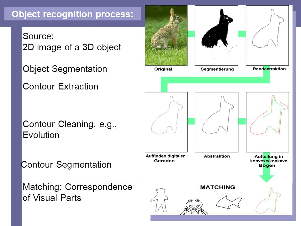 6 Object recognition process: Source: 2D image of a 3D object Matching: Correspondence of Visual Parts Contour Segmentation Contour Extraction Object Segmentation Contour Cleaning, e.g., Evolution