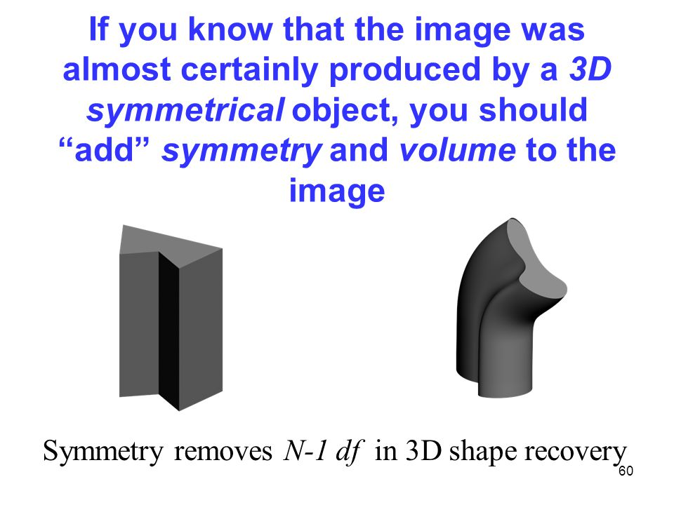 60 If you know that the image was almost certainly produced by a 3D symmetrical object, you should add symmetry and volume to the image Symmetry removes N-1 df in 3D shape recovery