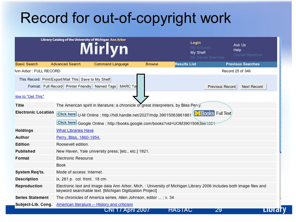 CNI 17 April 2007 HASTAC 23 Feb 2007 29 Record for out-of-copyright work