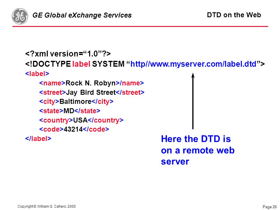 Copyright © William G. Cafiero, 2000 GE Global eXchange Services Page 26 DTD on the Web Rock N.